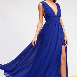NWT Lulus Heavenly Hues Royal Blue Maxi Dress